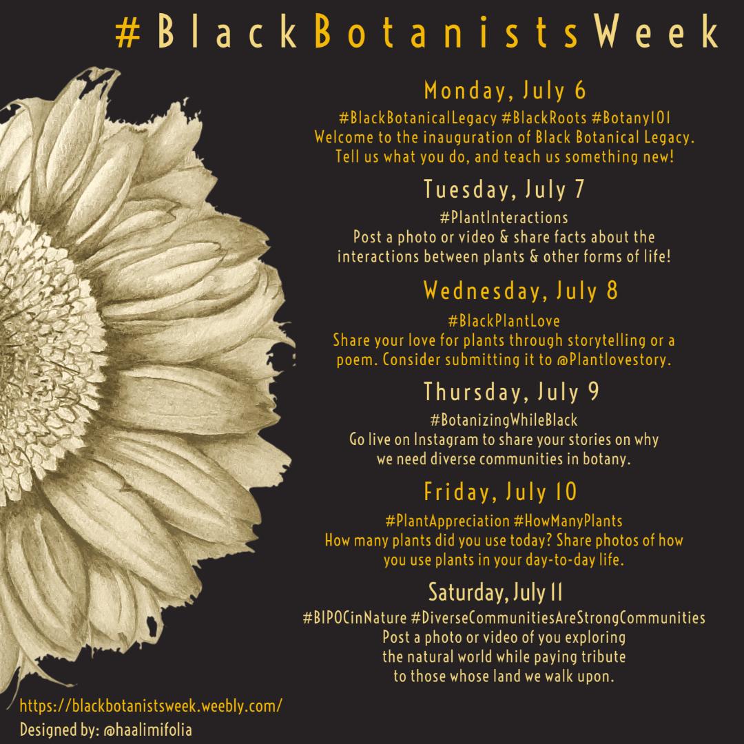 The schedule is here!! 👇🏽👇🏽👇🏽 Looking forward to a great week! 🌱 #BlackBotanistsWeek #BlackInSTEM https://t.co/d8vORoRZJw