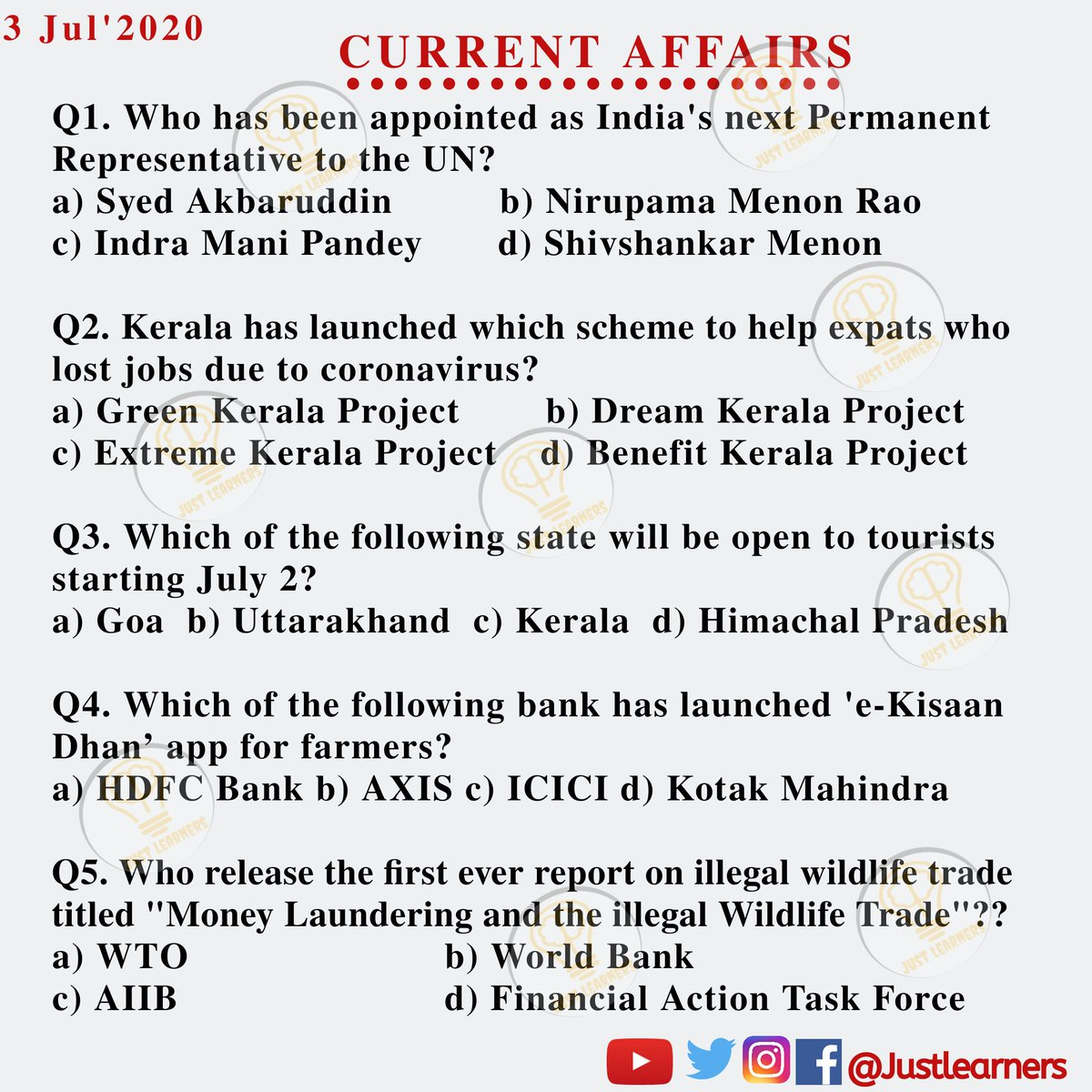 Keep updated yourself with daily Current Affairs Follow :- @JustLearners  Link in bio. #currentaffairs #indiagk #dailygk #currentaffairs24 #factsdaily #currentaffairs_gk #gkstudy #selfstudy #upscexam #gkforexam #upsc #rbi #DidYouKnow #currentaffairsbyjustlearners #justlearnerspic.twitter.com/t4nHNL3Zae