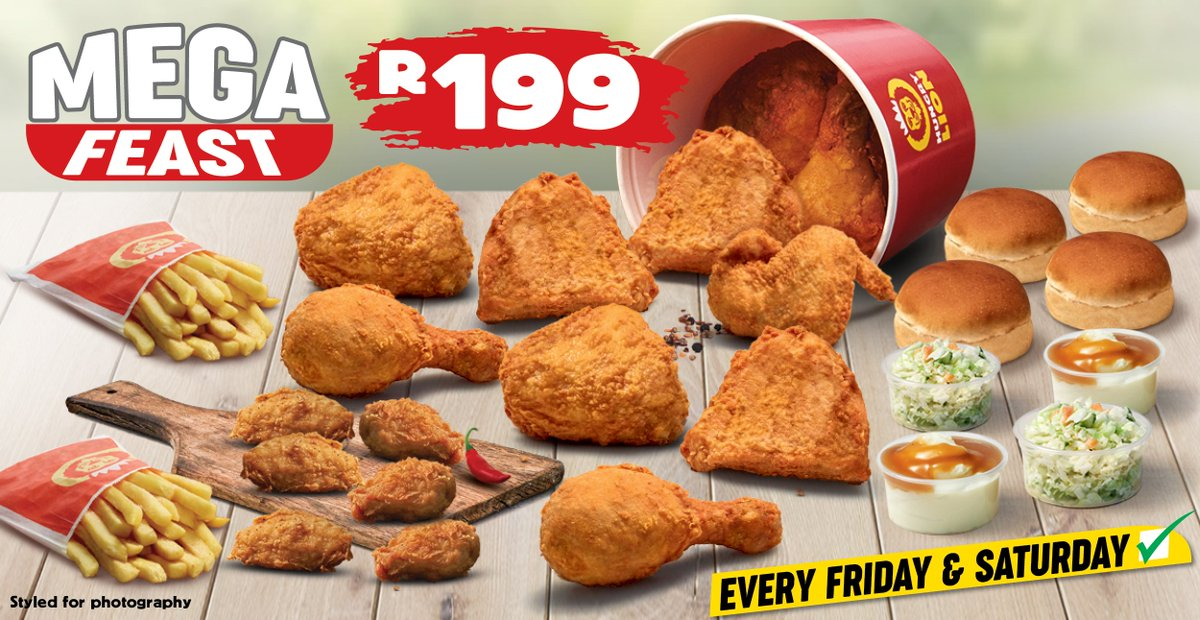 Your weekend starter-pack is served! Get your family a Mega Feast: 10 Bigger pieces, 6 Zamba Spicy Winglets, 2 Large Chips, 4 Dixie Rolls & 4 Sides for ONLY R199! Available EVERY Friday & Saturday. Like, RT this & Comment #EverydayDeals for a chance to WIN a today. Lets go!