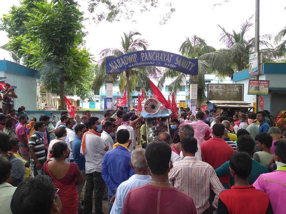 #Amphan has left the state 45days back. Even now many effected people haven't received their relief package as corruption bribery fraud of TMC continues. Frustrated villagers of Nadia organised protest outside BDO office  demanding immediate action of the state administration. <br>http://pic.twitter.com/ftEvwF06UV