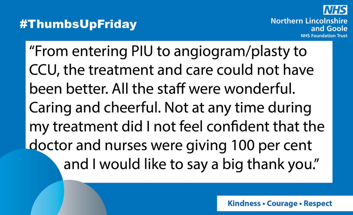 Our first #ThumbsUpFriday of the day is a brilliant compliment to all the staff on the Planned Investigation Unit and the Coronary Care Unit at Scunthorpe hospital. This patient was full of praise for the service and treatment  <br>http://pic.twitter.com/4ztSfBEsIW