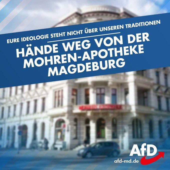 #AfD: Eure Ideologie steht nicht über unseren Traditionen - Hände weg von der Mohren-Apotheke in #Magdeburg