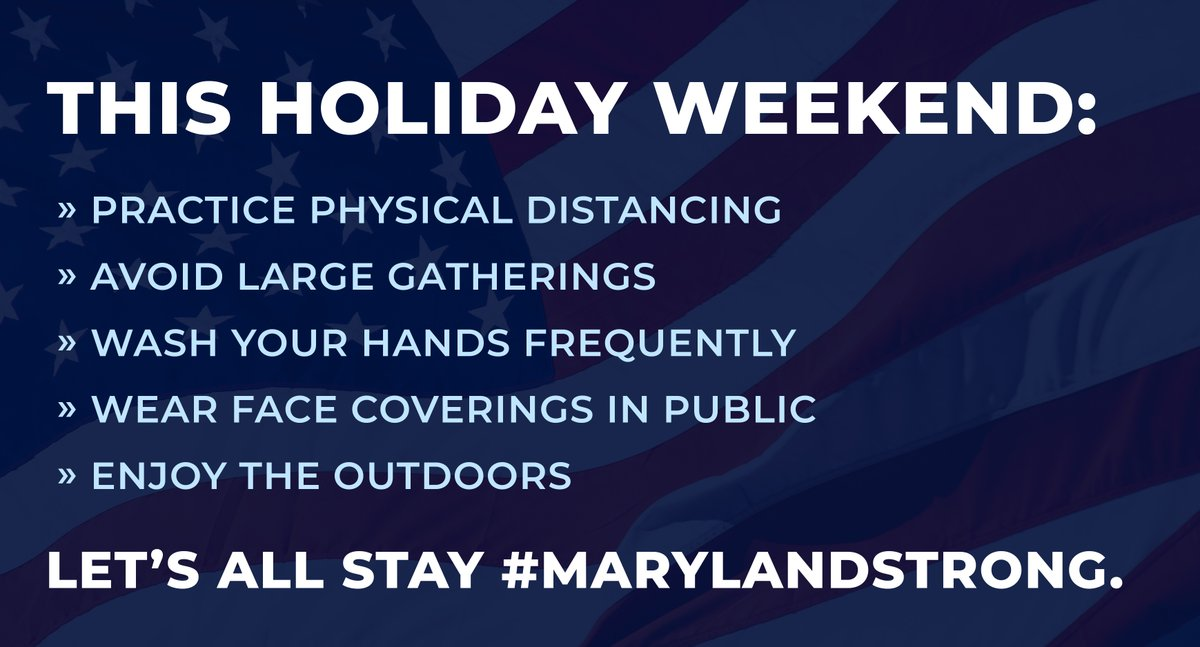 This Fourth of July weekend, please continue to exercise personal responsibility and keep your fellow Marylanders safe. We're all in this together. https://t.co/Op8Zx7s3aN