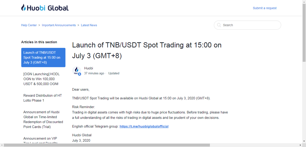 Hey, all friends! 😘 Read #Huobi @HuobiGlobal update news. #TNB/#USDT Spot Trading will be available on Huobi Global at 15:00 on July 3, 2020 (GMT+8). Also #Giveaways  10,000 TNB to 1 fans ENTER: 💫RT 🌟Follow ✨Tag 3 friends Open for 48 hours Keep supporting!