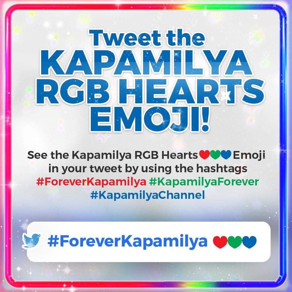 Isa ka bang Forever Kapamilya? Ipakita ang iyong suporta at mag-tweet with the hashtag #ForeverKapamilya, #KapamilyaForever, o #KapamilyaChannel! The Kapamilya RGB Hearts Emoji will appear in your tweet! https://t.co/K0kdXcop08