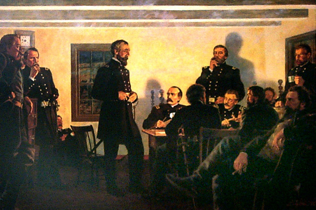 After meeting with Sharpe, Meade decides to have a war council. This will be held in a 12 x 12 room & 12 generals will be present - Meade, Newton, Hancock, Gibbon, Birney, Sykes, Sedgwick, Howard (#TeamOO🌙), Williams, Slocum, Butterfield & Warren...  #Gettysburg https://t.co/wmBd1uH3Vo