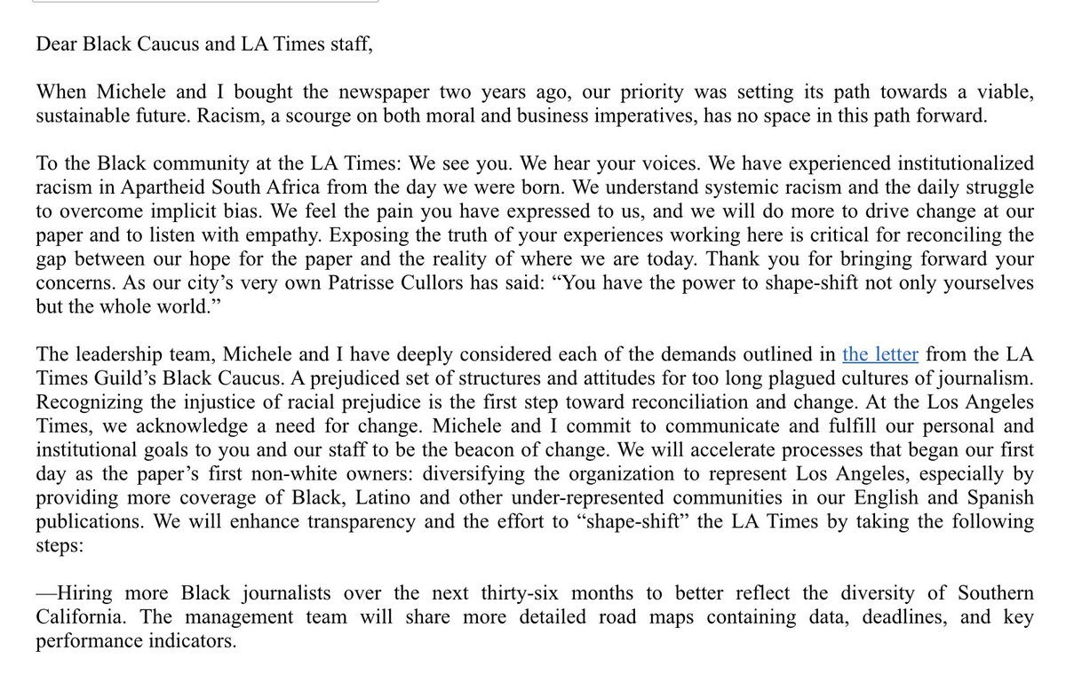 On June 23, The L.A. Times Guild lead by Black members sent Times' owner Dr. Patrick Soon-Shiong an open letter demanding the paper address its racism and commit to do better. This is his first public response. https://t.co/3NlgCIzrl5