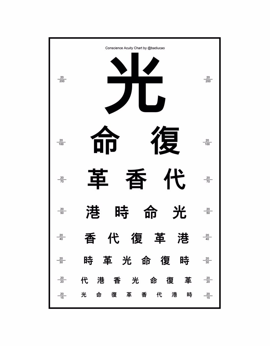 The HongKong protest slogan #光復香港時代革命 (glory to hongkong, revolutionary of our time) has been censored by HK police.  So I create this conscience acuity chart to mix the words and help to cheat the censorship from China.  Support my art on Patreon  https://t.co/acNMGZLohZ https://t.co/wyxfoh2BXc