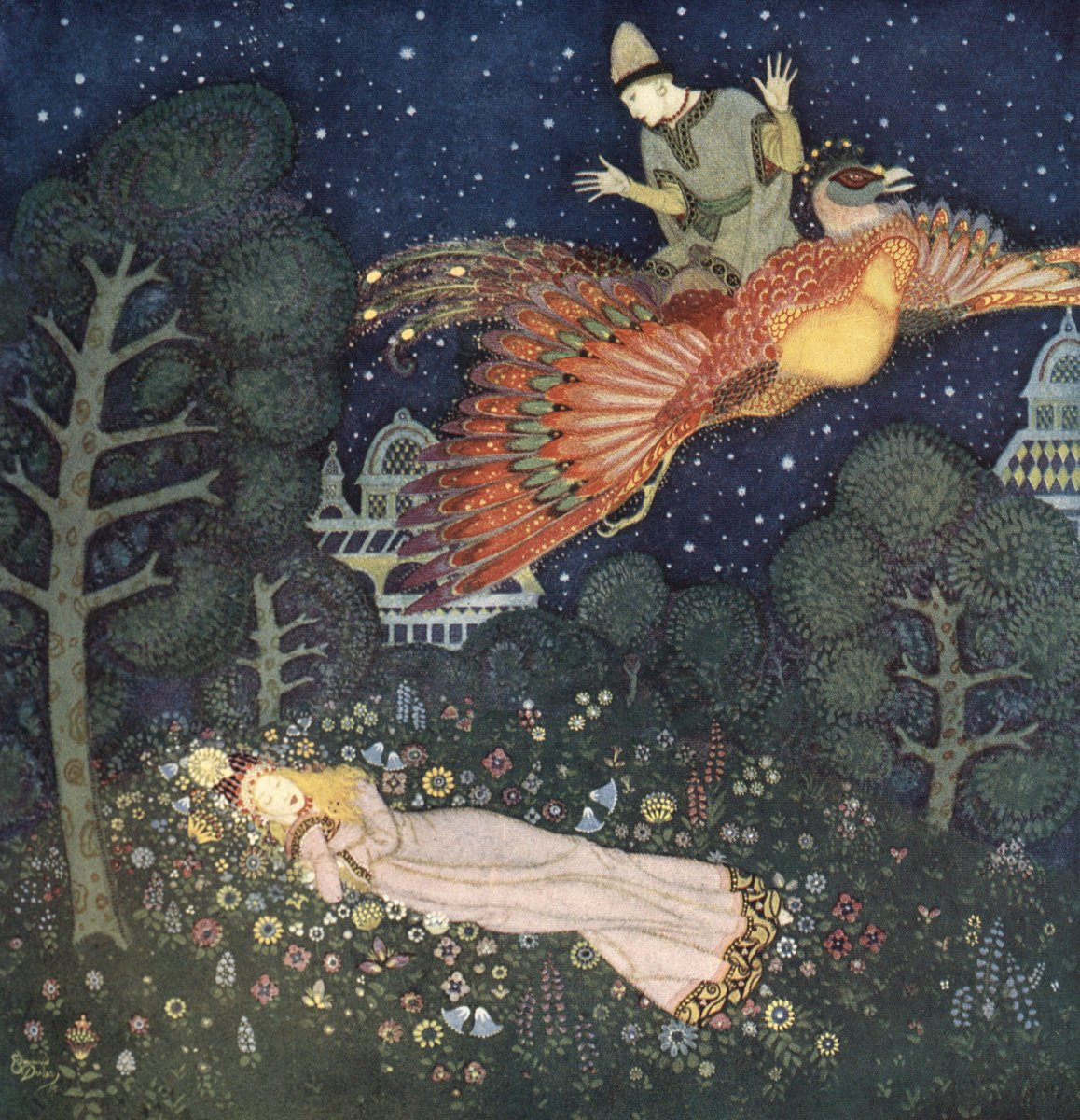 I adore this Edmund Dulac #illustration of the #Firebird of Russian #fairytales.  It is as if the picture itself possesses magic...  #FairyTaleTuesdaypic.twitter.com/sNeJEGSiqK