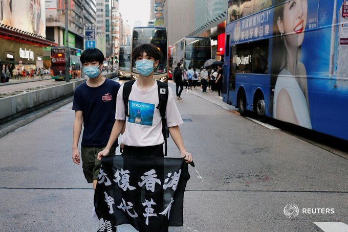 .@Reuters: 'Liberate Hong Kong, revolution of our times' slogan is illegal, government says, pointing to crimes that are covered under the new national security law imposed by Beijing https://t.co/y3oyTcVW7R @aiww @joshuawongcf https://t.co/ZT12yHAVhj