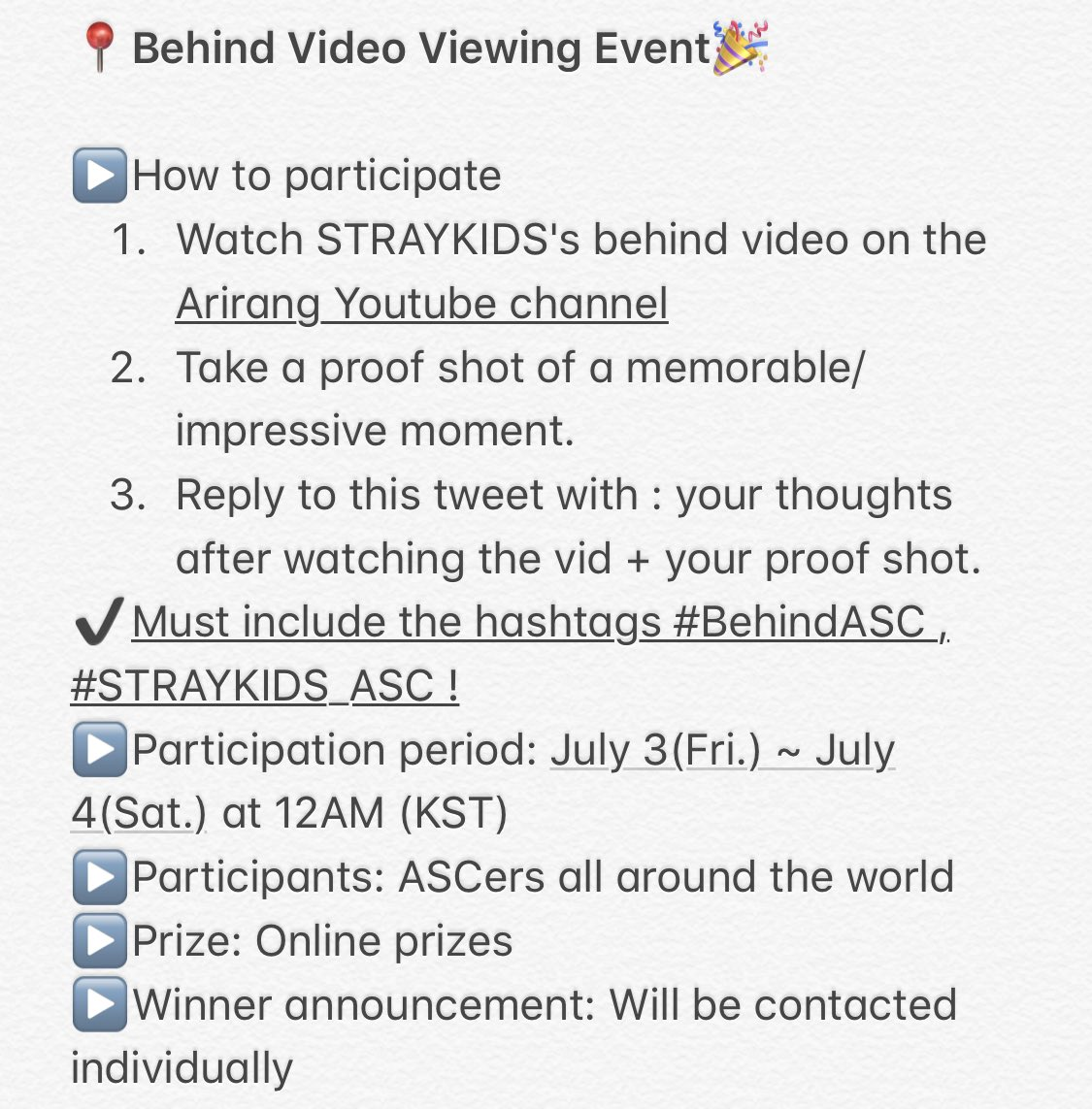 Watch Stray Kids's behind video and participate in the event below!  LINK: https://youtu.be/2doK_pqgKec  #BehindASC #STRAYKIDS_ASC @Stray_Kidspic.twitter.com/rRxBSgJV8X  by ⁷ 니키 ♡'𝕤 주찬 - TBZ KINGS