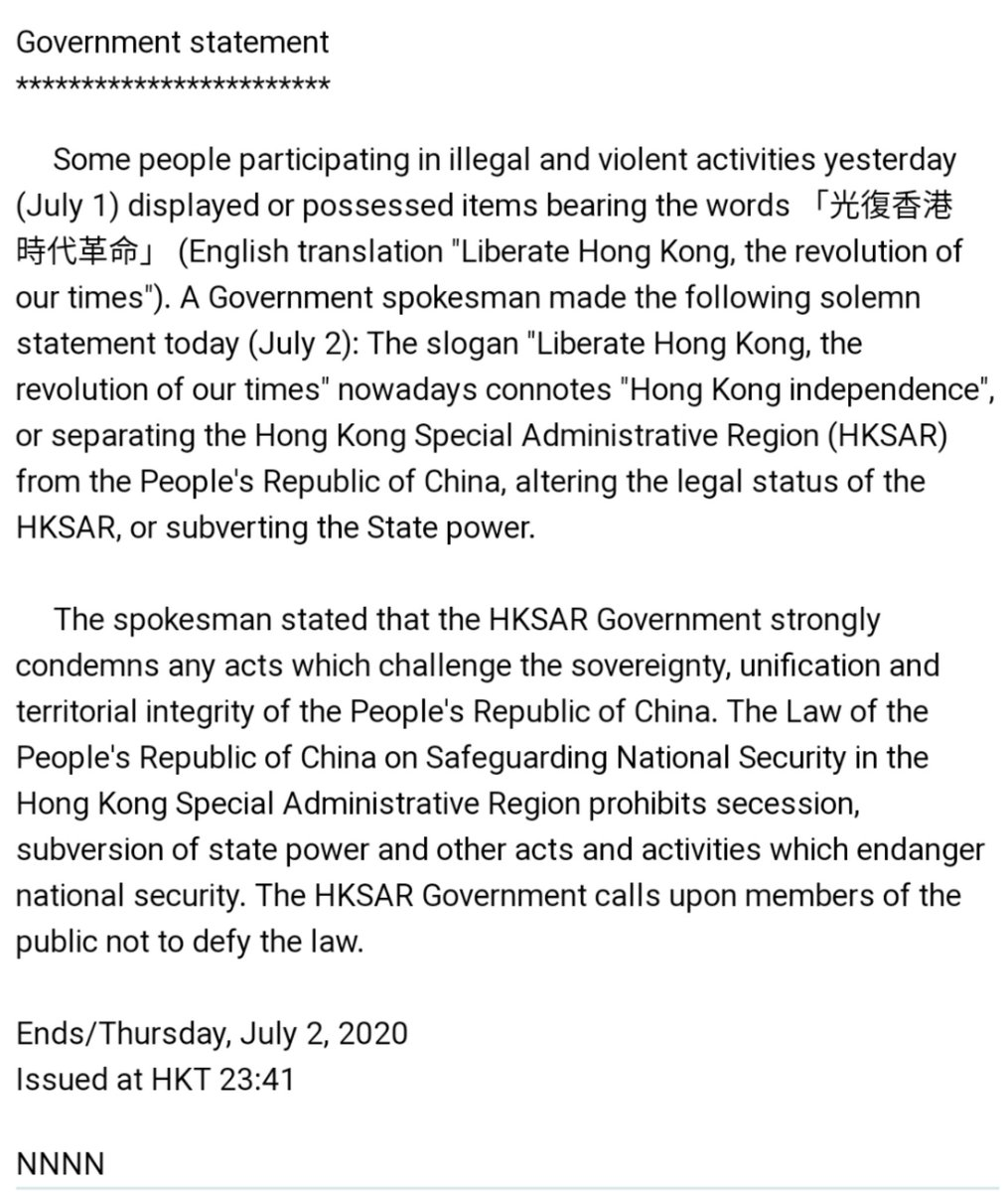 "12 hours ago, the #HongKong govt declared: ""You cannot use these words.""  It is tempting to think this only targets protesters, but look at the essence: it  targets LANGUAGE. This is a press freedom issue. And it's the duty of journalists to draw a line in the sand. https://t.co/EBYNBO0dBy"
