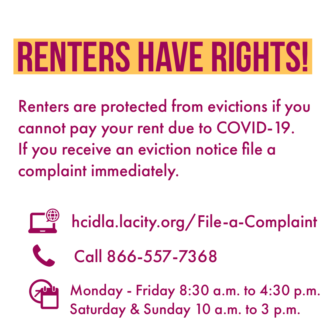 L.A. renters are still protected under the City's Eviction Moratorium if you cant pay some or all of your rent due to COVID-19. But we need more help like @RepMaxineWaterss bill to allocate $100B in mortgage & rent relief. Senate & White House need to act ASAP. #RentReliefLA