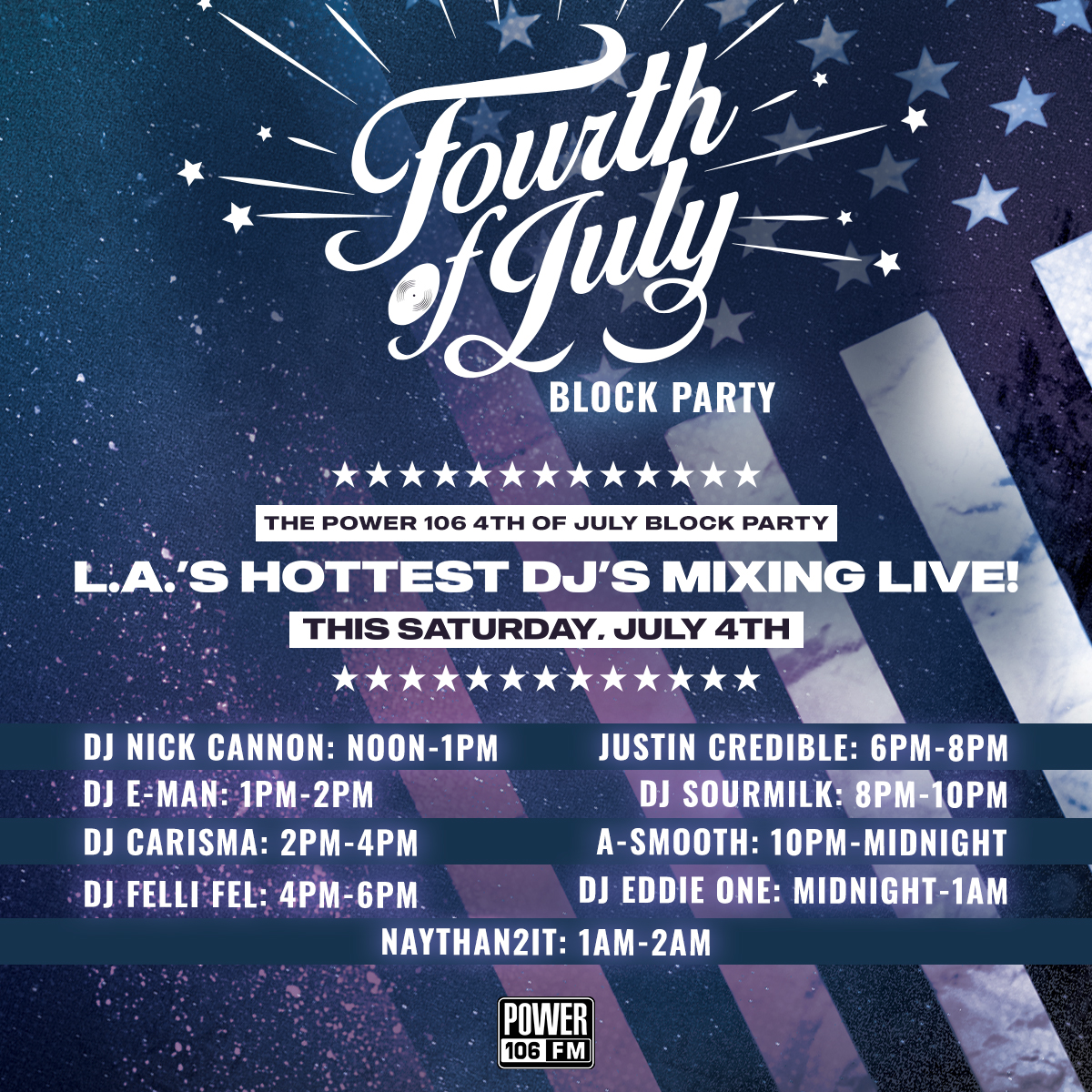 AYYYYEEE‼️ Be sure to turn us up as it's going down this Saturday for the #POWER106 4th of July Block Party!  Stay connected, take us with you and LISTEN LIVE on our Streaming App, via your Smart Speakers, and OF COURSE on https://t.co/RjIeNgYj8V. https://t.co/tAlZr6dppV