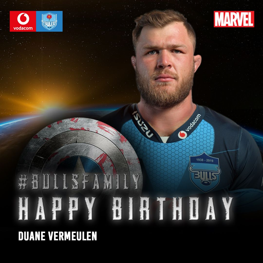 The Vodacom Bulls would like to wish Duane Vermeulen a very happy birthday. We hope that this year is filled with great memories. Enjoy your special day. #BullsFamily