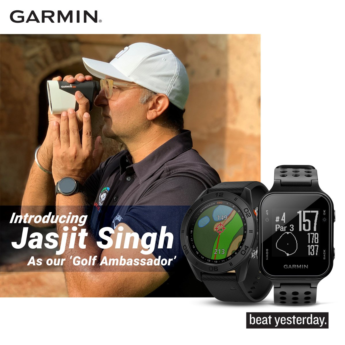 """Introducing you to our new """"Golf Ambassador"""" Jasjit Singh. With him we are preparing to serve the needs of golfers who wish to have smart gadgets for accuracy.  Featured Product Approach S20: https://t.co/se5xKo2yVc   #GarminIndia #BeatYesterdayIndia #Golf #sport https://t.co/PsZ6EXY5Ma"""