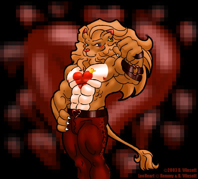 @SethIova A good friend drew this when we once talked on what would it look to mix up two lions we love, Braveheart Lion and Leomon. Ive always loved it, so many hearts, and the heart-shaped nipples are inspired.