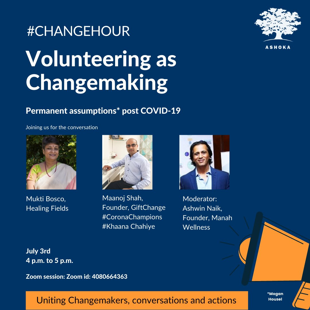 Join us for Changehour - A conversation to action series at Ashoka Changemakers to bring together positive changemaking collaborations across sectors.  Today, July 3rd, 4 p.m. on Zoom  #changemaking #socialentrepreneurship #volunteering #COVIDLockdown https://t.co/ARtIVXnc0E