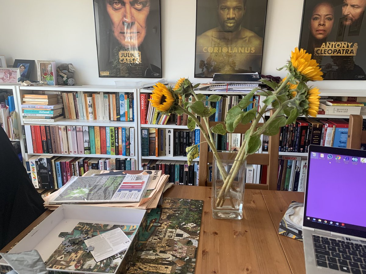 Lockdown home, like lockdown self, is looking a bit scruffy, with jigsaw, sewing, reading, work, all piling up. But who cares, we have sunflowers.