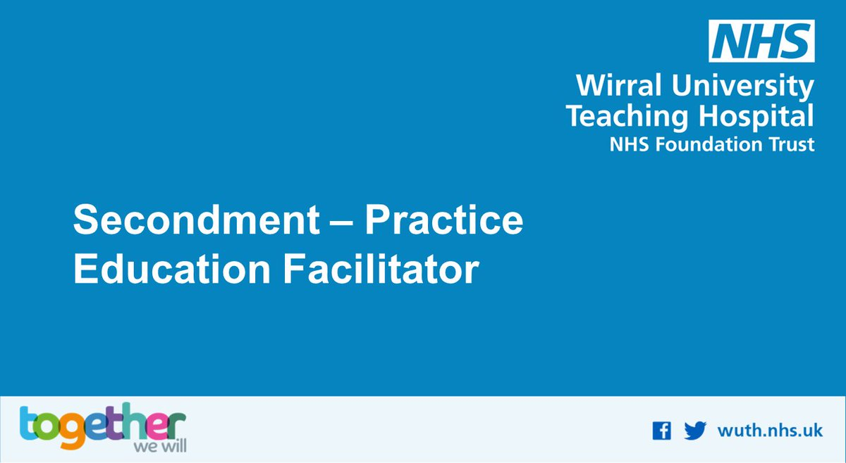 Exciting full time secondment opportunity. Practice Education Facilitator post. See full details at bit.ly/3eK3eCZ