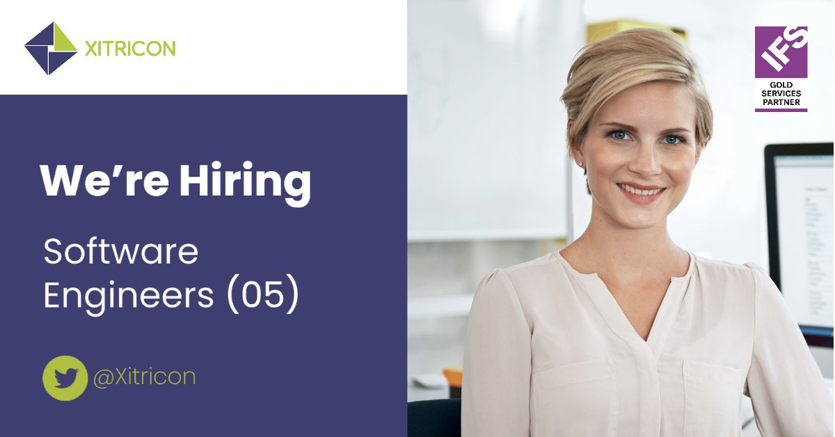 We are #hiring software engineers (05). Ideal Candidate should have: A degree in Software Engineering or IT. 1 to 5 years' experience as a #IFS software engineer will be recognized. Email your CV to hr@xitricon.com  #xitricon #career #softwareengineer #jobspic.twitter.com/n1ZSiBSMnl