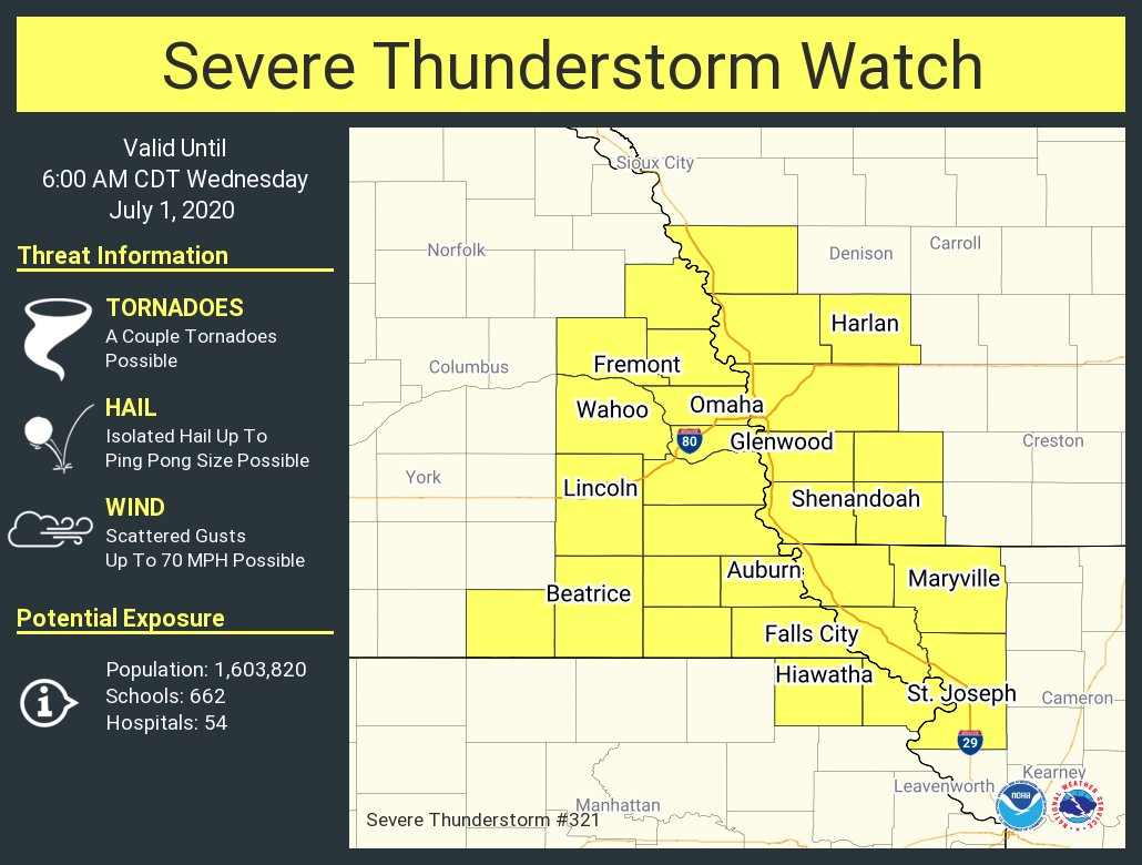 A severe thunderstorm watch has been issued for parts of Iowa, Kansas, Missouri and Nebraska until 6 AM CDT https://t.co/L8j9Rdzuxh
