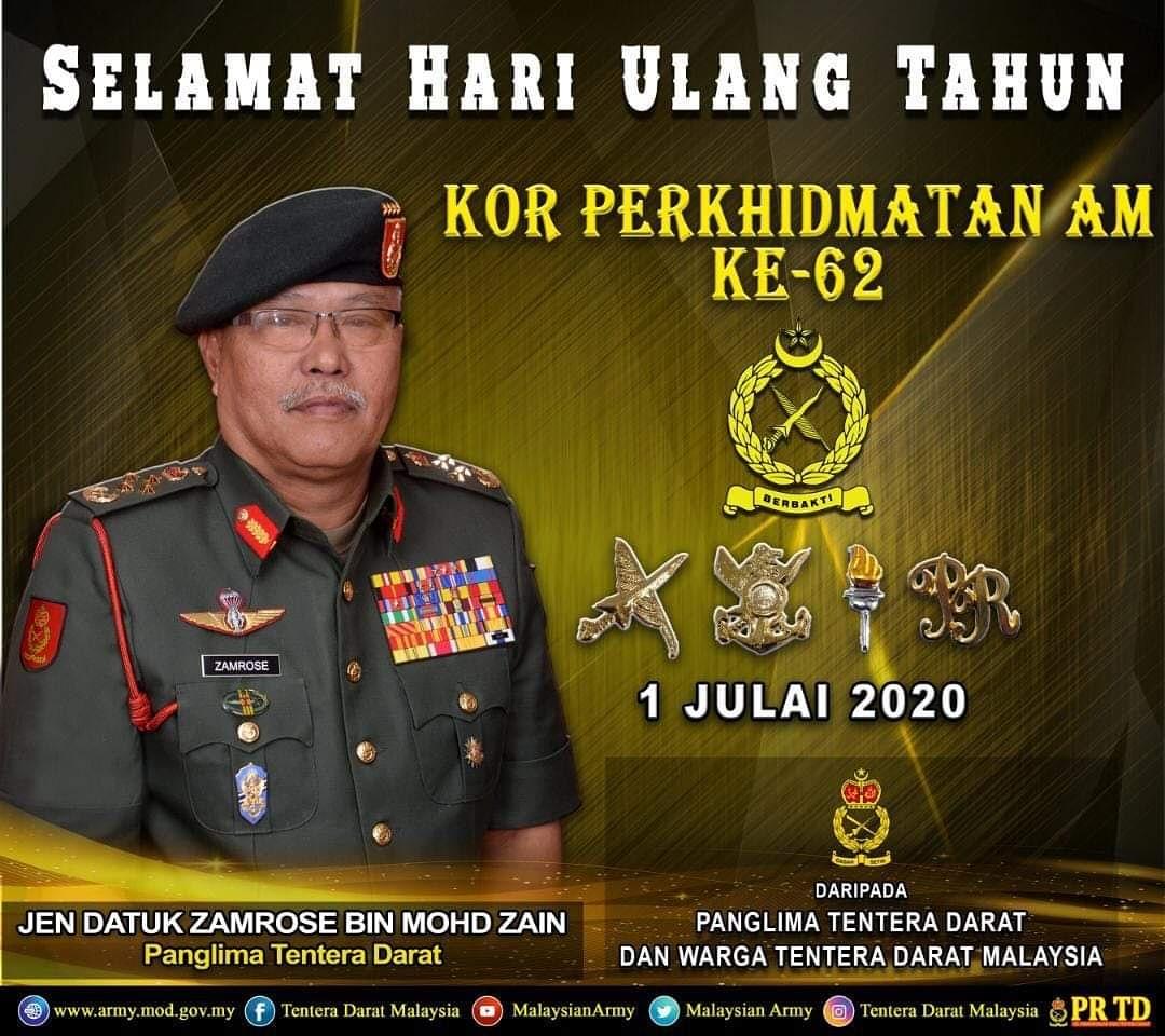 Panglima Tentera Darat, Jen Datuk Zamrose bin Mohd Zain mengucapkan Selamat Hari Ulang Tahun Kor Perkhidmatan Am (KPA) Ke-62 kepada Brig Jen Dato' Nazri Abu Bakar selaku Pengerusi KPA, juga kepada semua warga KPA.  #TenteraDaratMalaysia #GagahSetia #Berbakti https://t.co/Wk5zl6QhGD