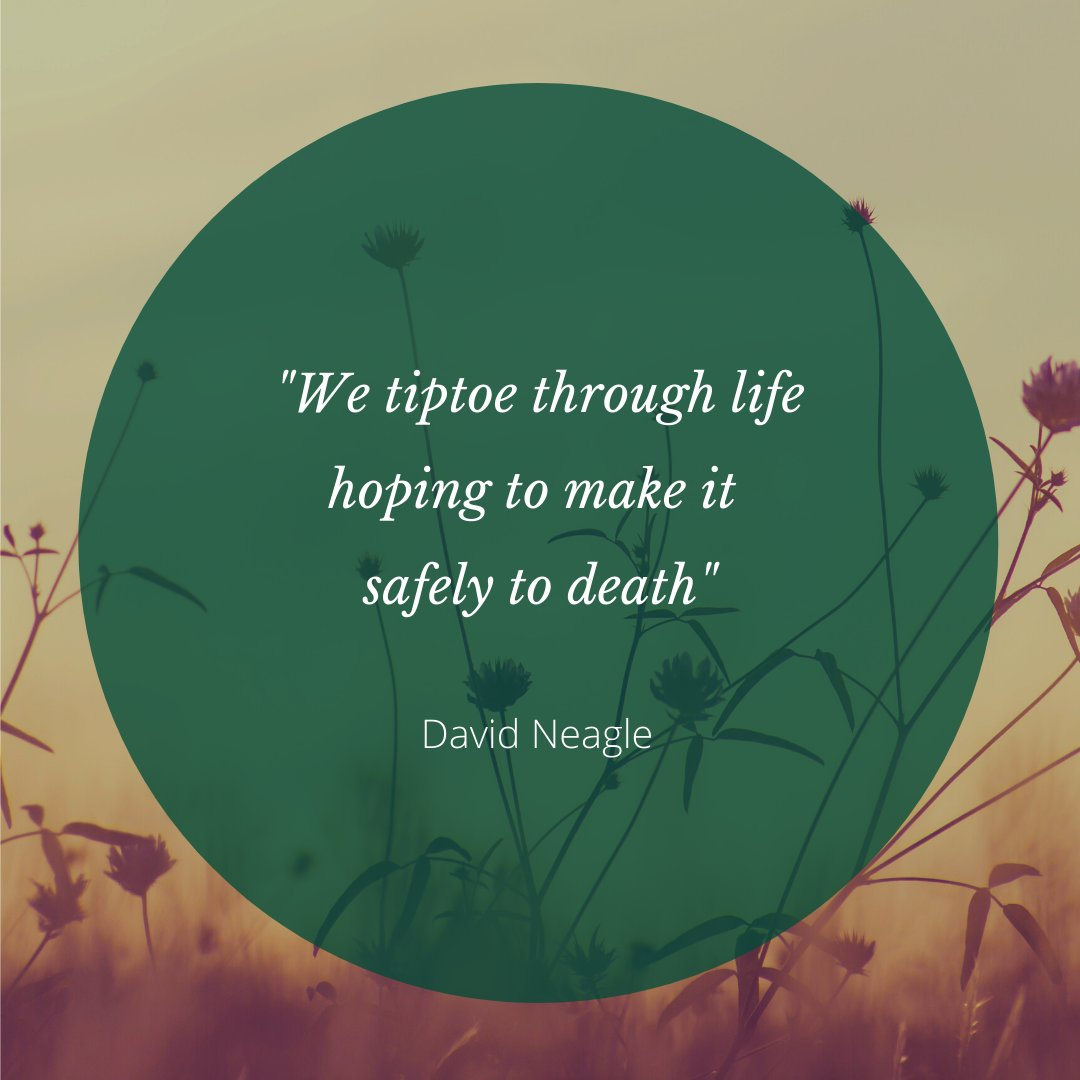 """""""We tiptoe through life hoping to make it safely to death""""  David Neagle  #WednesdayWisdom https://t.co/Iyus5p9MbF"""