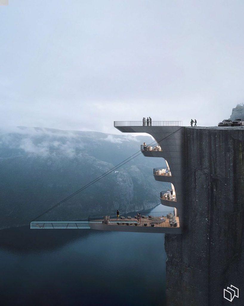 Доброе утро  Отель Falez Concept предлагает своим гостям уникальный опыт проживания в отеле, откуда открывается впечатляющий вид на природный ландшафт Норвегии. Отель studio расположен в опасном месте на краю норвежского утеса Прейкестолен. #архитектура #исскуство #дизайн pic.twitter.com/9IWWCVHIUS