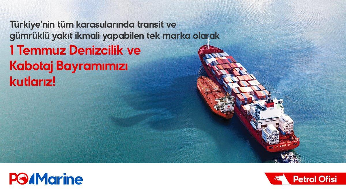 1 Temmuz Denizcilik ve Kabotaj Bayramı kutlu olsun. #PetrolOfisi #POMarine #KabotajBayramı https://t.co/nztiIzqcrn