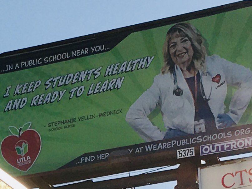 I was driving my son home from the oral surgeon and look I found one of my billboards ! Thanks UTLA for asking me to represent school Nurses's!  #nurses2020 #LAUSDNURSES<br>http://pic.twitter.com/o6Hg0KHM5S