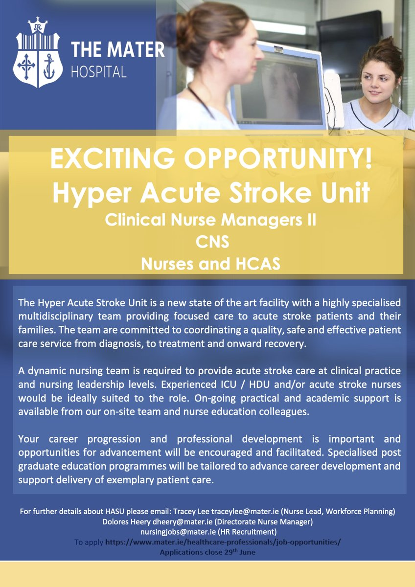 We are almost ready to open our new state of the art Hyper Acute Stroke Unit @MaterDublin. All we need now is passionate and talented nurses to join us (ANP, CNS, CNM, staff nurse roles). Be part of one of the friendliest, most dynamic and innovative stroke teams in Ireland.