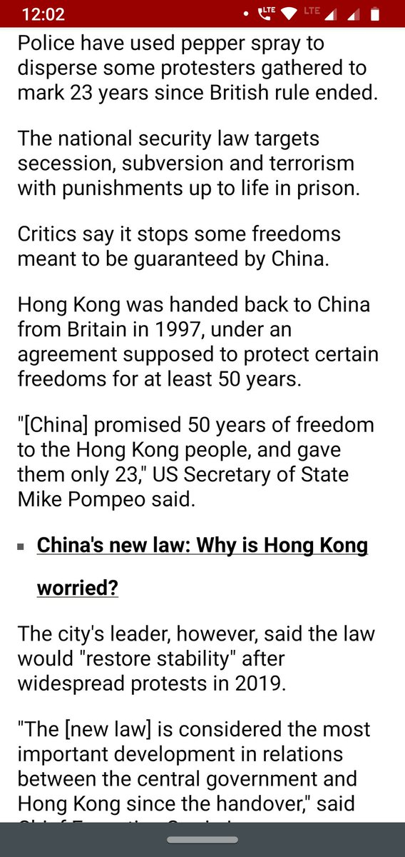 Promised 50 years? Gave only 23? Turns out even freedom doesn't last long if it's made in China #bbcnews #Hongkongprotest what exactly is the world upto?  <br>http://pic.twitter.com/vPAzBODAbY