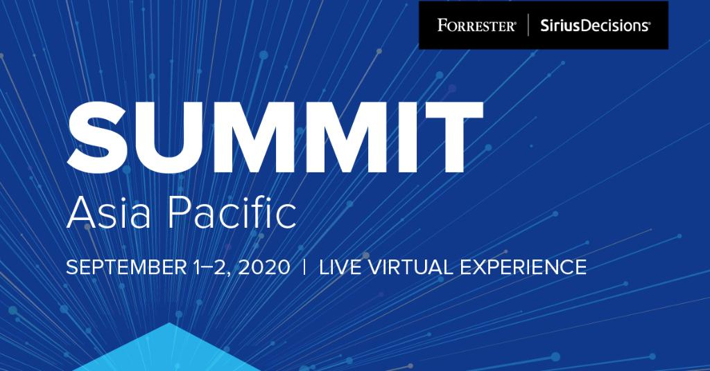 We are excited to announce that Summit Asia Pacific will be going ahead as a live virtual experience. The combined power of Forrester and SiriusDecisions will bring together #B2B, #B2C, and #CX leaders for an illuminating 2-day event. Register here: forr.com/2ZoNheZ #APAC