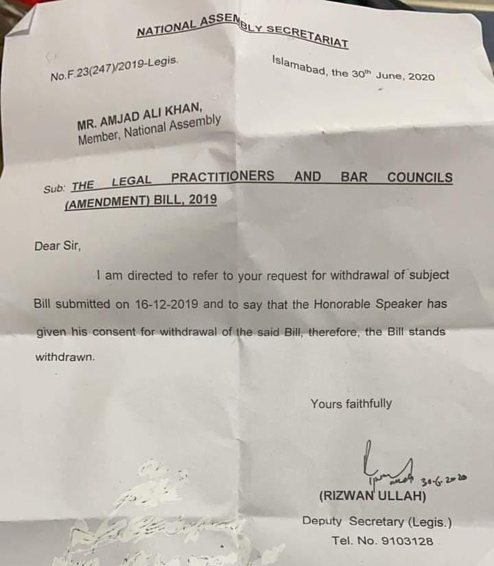 Congratulations to the Vice Chairman, all members of Islamabad Bar Council and the Lawyers of #Islamabad (ICT) on withdrawn of a  BILL for amendment in Section 41.  Thanks to Almighty Allah  with Whose blessings we have been able to defend our right and to achieve the goal. https://t.co/IzheCPwXqZ