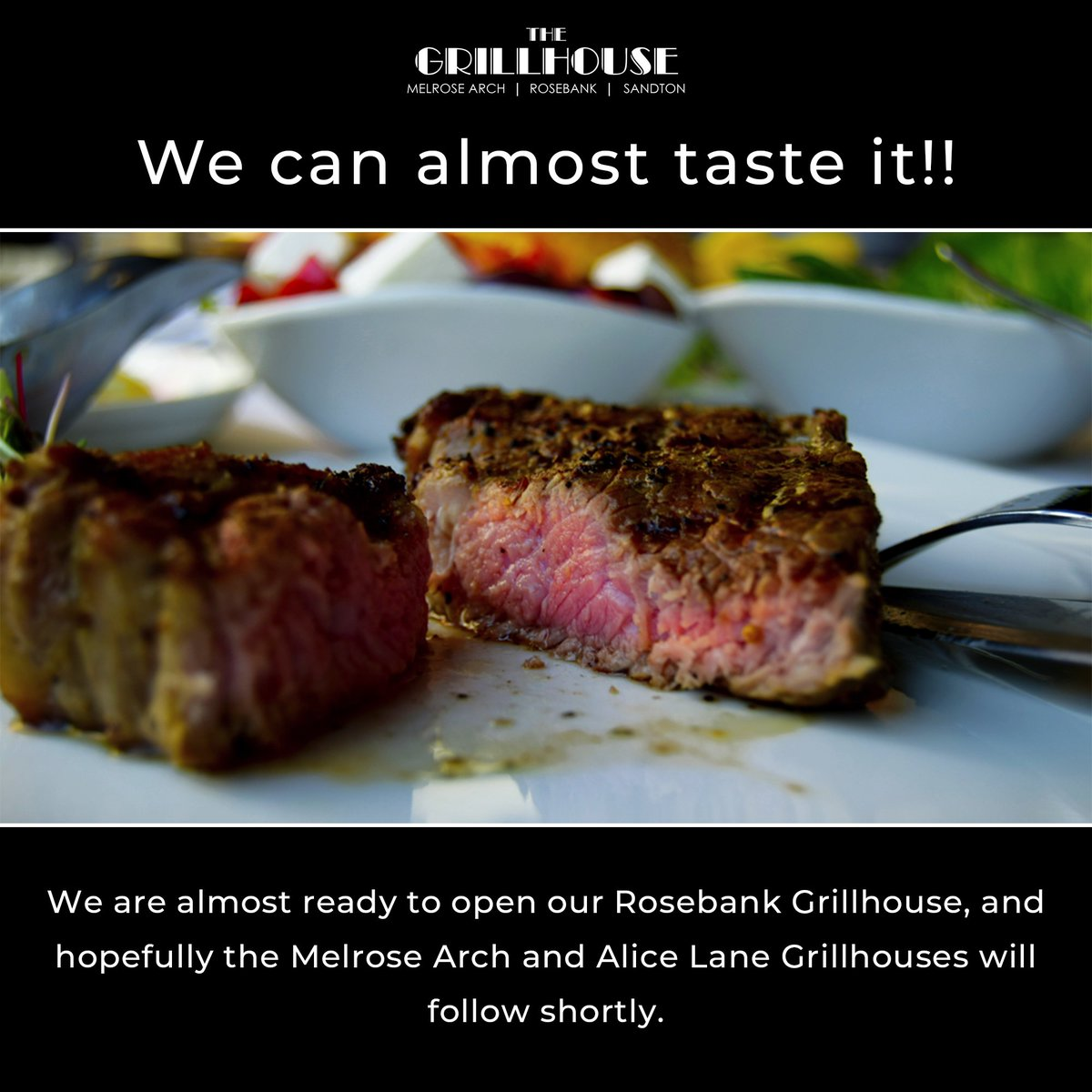 We can almost taste it!! We are almost ready to open our Rosebank Grillhouse, & hopefully the Melrose Arch & Alice Lane Grillhouses will follow shortly. Hopefully within a week, but keep an eye on our social media platforms #restaurant #food #foodporn #foodie #dinner #coranavirus https://t.co/DnEragkV4J