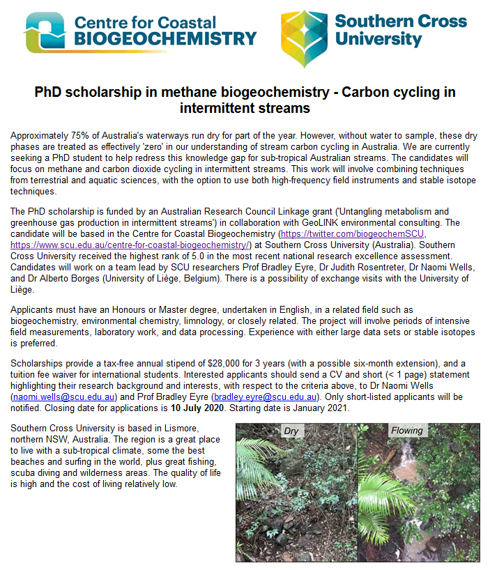 I'm (still) looking to hire a PhD student to come work with me at @biogeochemSCU @SCUonline on #methane and CO2 cycling in intermittent streams. Applications close 10 July, anticipating you'll be able to start this January. #phdchat #ScienceJobs https://t.co/BQEE7vXmja