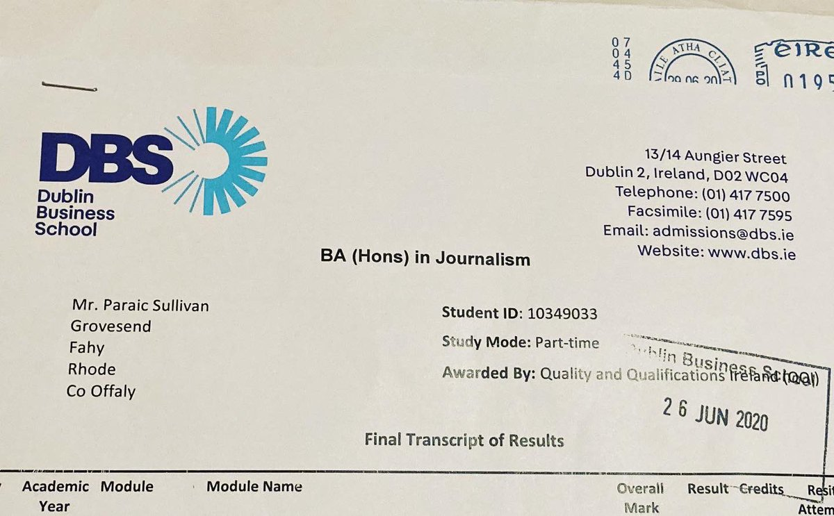 Paraic Sullivan On Twitter Really Delighted With Securing A First Class Honours In My Ba Honours Journalism And Media Degree Four Years Of Grafting All Worthwhile Videography Journalism Mockmedia Graduate Https T Co Ertjjkx93y