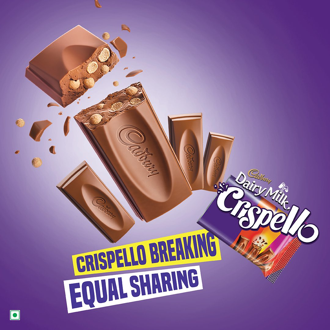 Cadbury Dairy Milk Crispello! Can only be shared by 4 friends. No less, no more. #EqualSharing #Four #Friends #CadburyDairyMilkCrispello #Crispello https://t.co/Vpc4PoXM7E