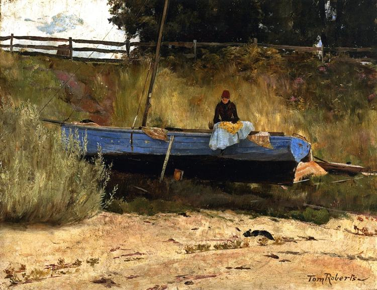 Boat on Beach, Queenscliff Tom Roberts Date: 1886 Style: Impressionism Genre: genre painting #ArtLoverspic.twitter.com/qvtLJxhtYX