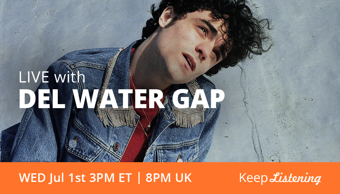 """Inspired by """"romantic encounters and dimly lit rooms,"""" @DelWaterGap will be coming to you live in our online Listening Room from Brooklyn, New York. Tune in Wednesday at 3pm ET // 8pm UK https://t.co/8S1xQU1YWD https://t.co/LyhiGCc3Pc"""