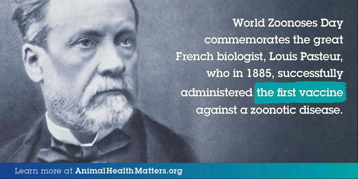 Important reminder from @Health4Animals! 🔜 #WorldZoonosesDay is on the corner! Every July 6, we honor Louis Pasteur, the scientist who created the first ever #vaccine against #rabies. His pioneering work has saved countless lives in the 100+ years since then. #AnimalHealth https://t.co/plq6DIYGi6