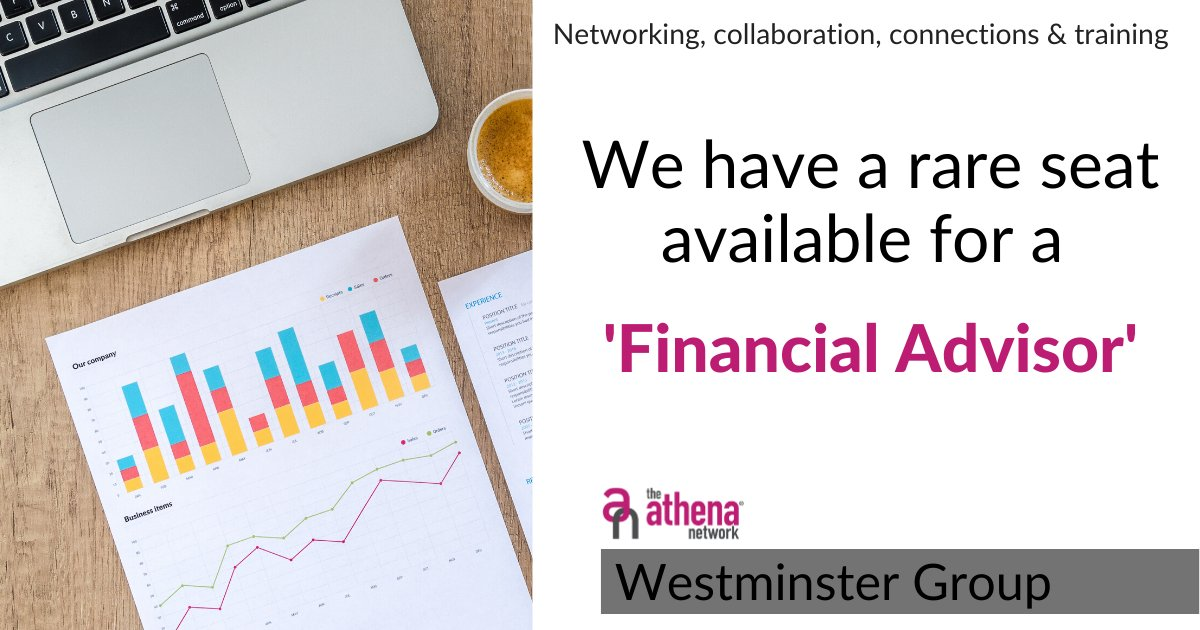 Our Westminster Group has a rare seat for a Financial Advisor.   Are you or do you know one who would like to join?  Get in touch for more information or if you know anyone who would be interested in joining.   #AthenaCentralLondon #Connections #MagentaTribe #Networking https://t.co/W0t2s6CfJy