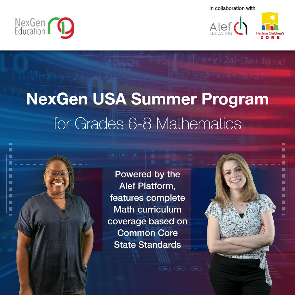 Sign up now to: The NexGen Summer Program: https://t.co/ZbJerrmGjb  A free solution available July 6th through August to help schools address learning loss.  The program leverages both the award-winning Alef Platform and the expertise of teachers from the Harlem Children's Zone. https://t.co/glDVftym8i