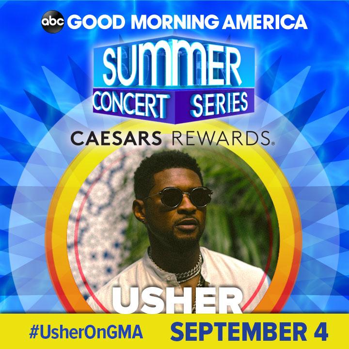 @OldDominion @DiRealShaggy @OfficialSting @Conkarah @elliegoulding @jasonderulo @thekillers @LukeBryanOnline @ShaniaTwain @GloriaEstefan @theestallion @BebeRexha @Usher SEPTEMBER 4: @Usher kicks of #LaborDay weekend with an epic performance in our @GMA Summer Concert Series! https://t.co/gZMmXiPqpf #UsherOnGMA https://t.co/2WXJfqvxcZ