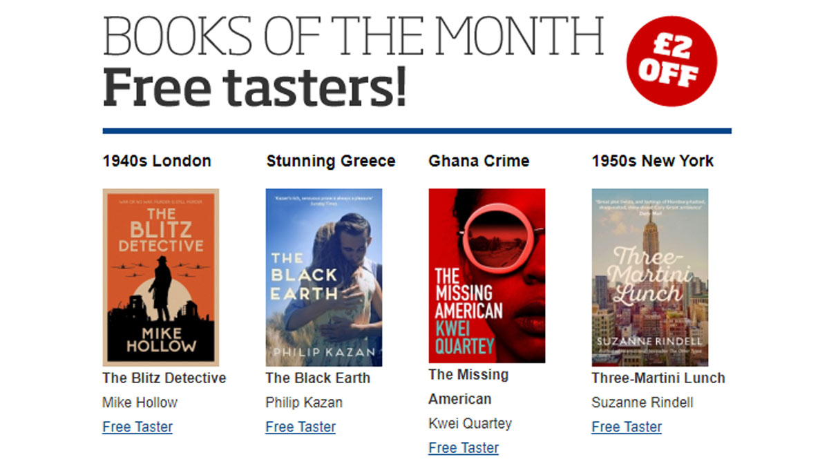 Hello July! 😎 Our Books of the Month are perfect for armchair travelling - £2 off and free UK P&P. 💥 #BlitzDetective by @MikeHollowBlitz  🇬🇷 The Black Earth by @pipkazan  🇬🇭 #TheMissingAmerican by @Kwei_Quartey  🗽 Three-Martini Lunch by @SuzanneRindell  https://t.co/omqISCEDoc https://t.co/DeAg1NNfN3