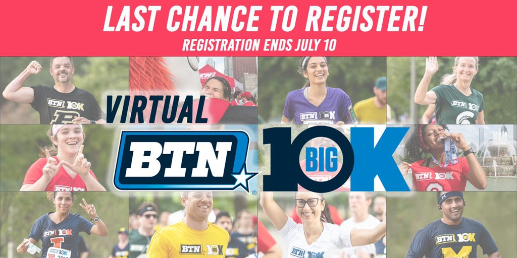 LAST CHANCE TO REGISTER!  Have you registered for this year's Virtual BTN Big 10K? If not, you have until Friday, July 10 to sign-up!  Represent your favorite Big Ten school, test your fitness & enjoy a race experience!  More Information & Registration ➡️ https://t.co/USm0RYjINq https://t.co/k5xreNntDX