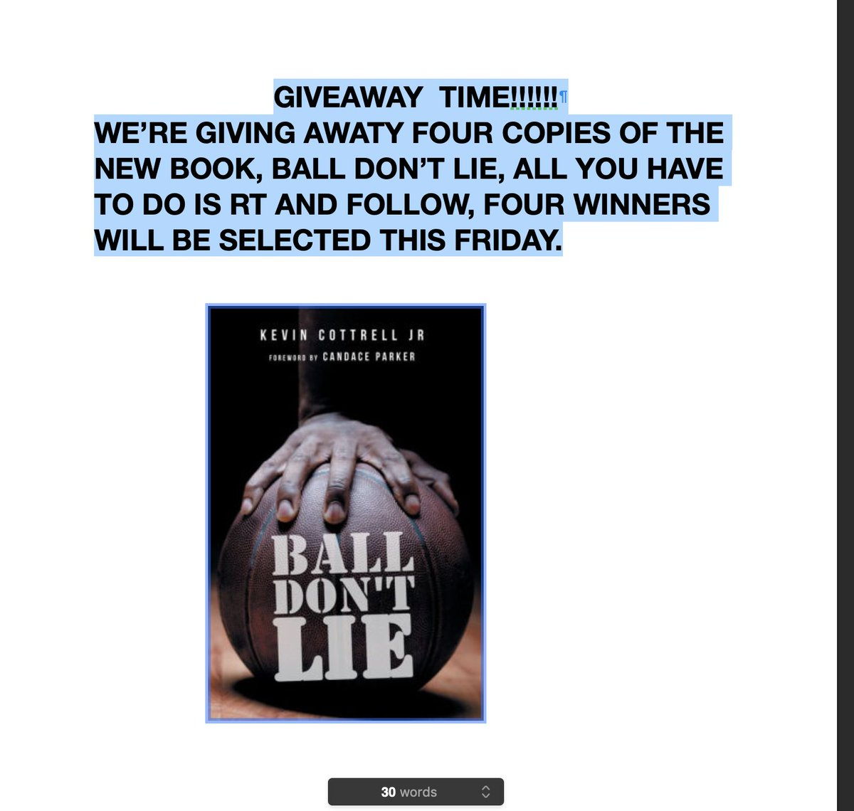 It's time for you to shoot your shot and win a copy of Ball Don't Lie written by @KCJ_Swish. All you have to do is RT and follow. Four winners will be selected this Friday https://t.co/DSHq0upAIR