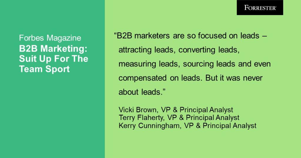 It's time for all #B2B marketers to realize that B2B business is a team sport. And in this team sport, there are teams on both sides of the field. Find out more here (via @Forbes): forr.com/2Zr8XHc