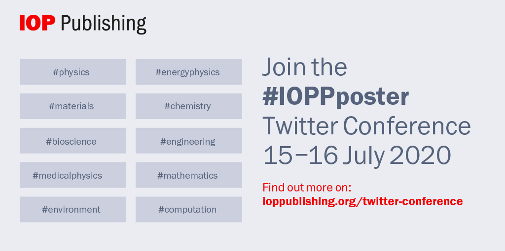 Take part in @IOPPublishing's #IOPPposter Conference on 15 - 16th July for your chance to communicate and disseminate your work and win cash prizes! Find out more and register for this free event: https://t.co/xfHIh49FYC #VirtualConference #STM https://t.co/N7VRKOSzsS